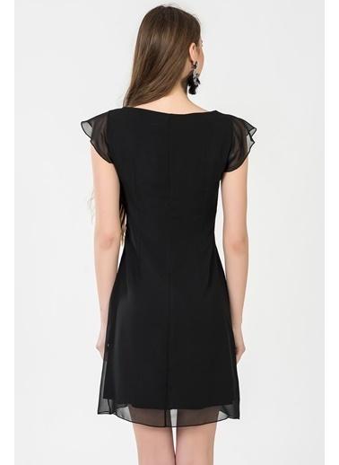 İroni V Yaka Mini Şifon Elbise Siyah